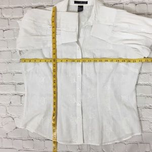 Willi Smith Tops - Willi Smith White Floral Embroidered Blouse sz L
